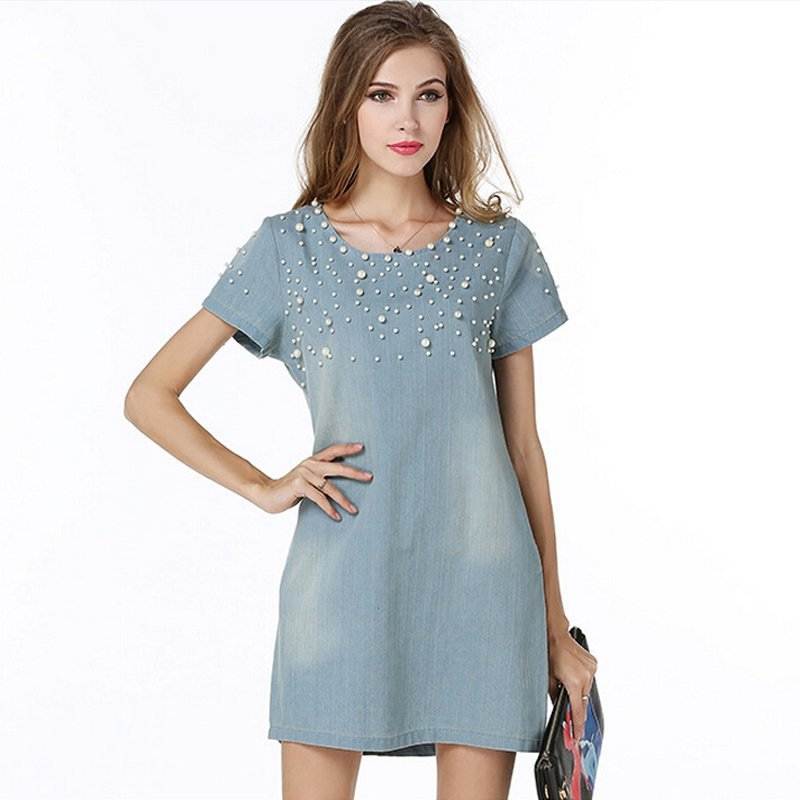 Desigual 2015 Women Casual Vestidos Clothing Summer Vintage Elegant Diamond Blue Denim jeans dress party Dresses Plus Size 5xl