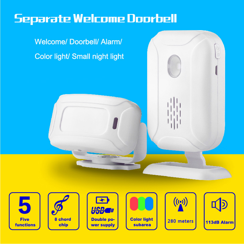 Separated welcome doorbell 280m detect distance wirless infrared sensor bell