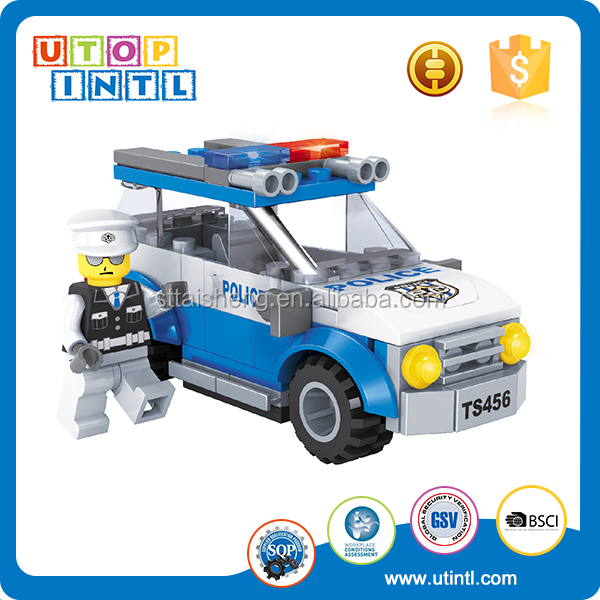 Children love ABS plastic building block toy police car with blocks