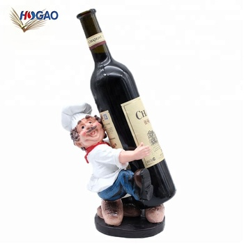 Oem Bistro Chef Wine Bottle Holder Resin Figurine Rack Stand Home Decor Gl Product On