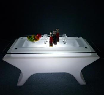 Multi-function KTV Glasses Glowing Wine Table LED Home End Table Plastic Illuminated Furniture