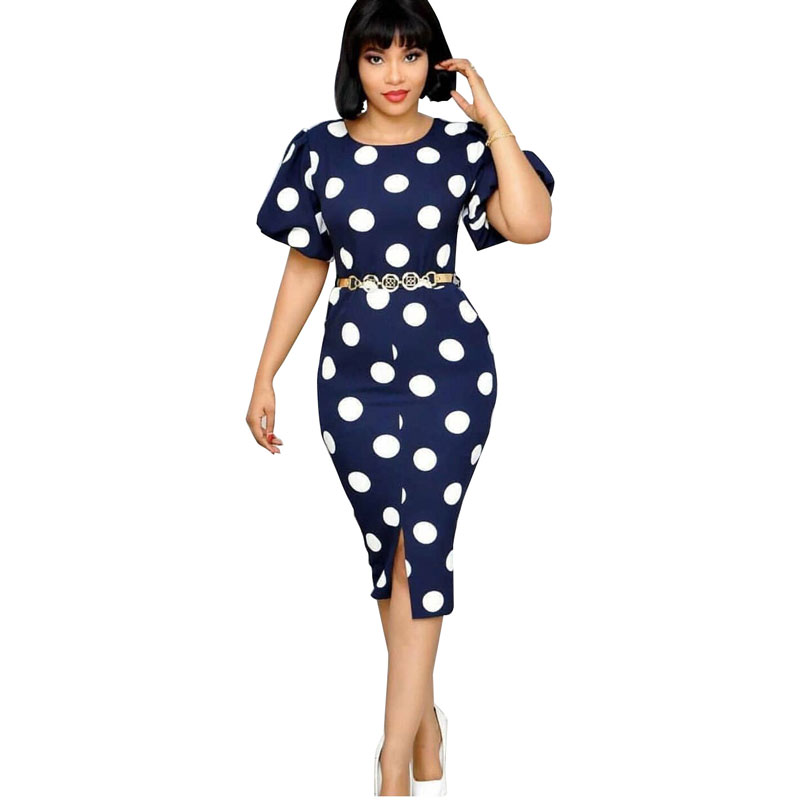 90428-MX69 new styles casual dot printed dresses women фото