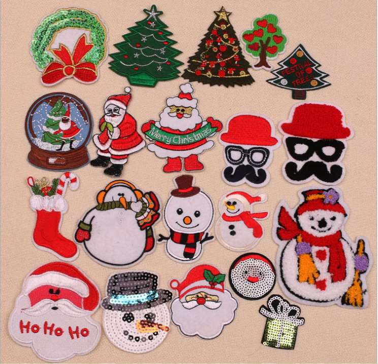 computerized embroidery machine made embroidered patches, Santa Claus,christmas trees various design embroidered patches