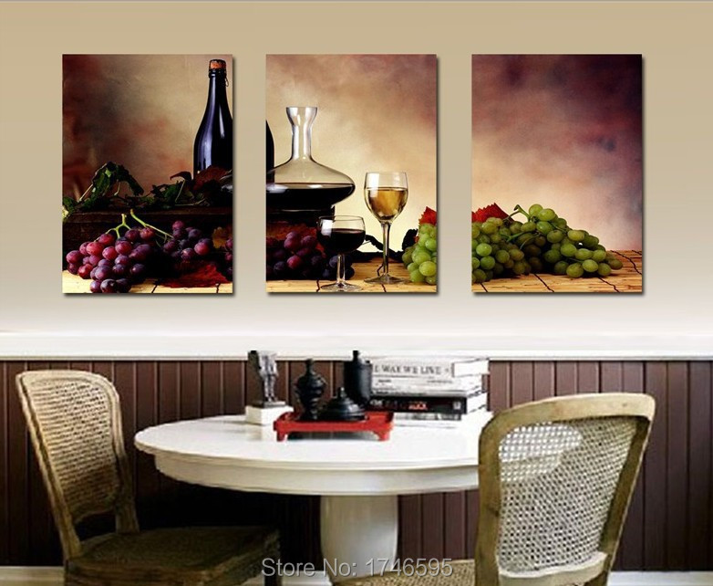 Big size modern dining room wall decor wine fruit Kitchen Wall Art Picture  printed canvas Painting on Canvas art print PT0782