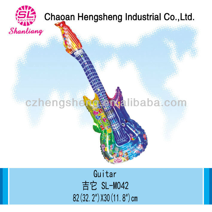 Inflatable mylar high quality guitar clapper balloon