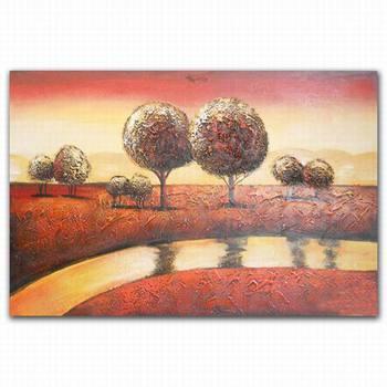 Digital Floor Simple Abstract Art Painting Tree River Landscape Scenery Paintings