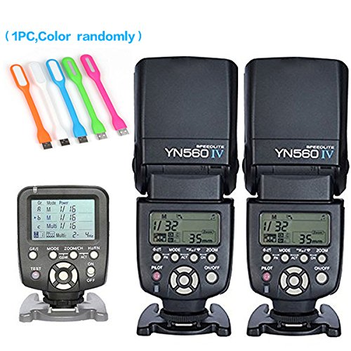 Yongnuo 2PCS YN-560IV Manual Flash Speedlite Light + YN560 TX LCD Wireless Flash Trigger Remote Controller For Canon DLSR Cameras+Huihuang USB LED free gift