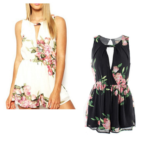 2015 floral romper womens  floral patchwork combinaison femme sexy o neck sleeveless summer playsuit sexy club jumpsuit