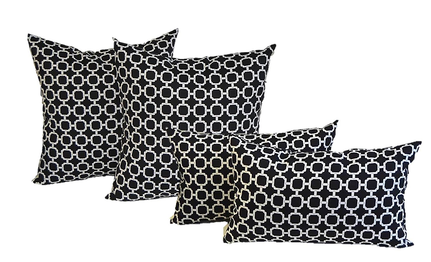 """Set of 4 Indoor / Outdoor Pillows - 20"""" Square Throw Pillows & Rectangle / Lumbar Decorative Throw Pillows - Black and White Geometric Hockley"""