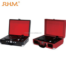 RHM Portable Bluetooth Suitcase Turntables Built-in Speakers Vinyl Record Player With Aux-in RCA Adiou Output
