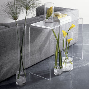 Clear acrylic waterfall console table coffee end table