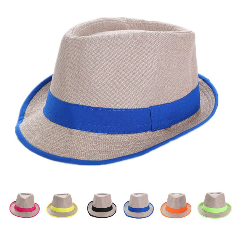 4ce652edf31 Get Quotations · Fashion Hats For Kids Boys Girls Fedora Trilby Gangster  Cap Summer Beach Sun Linen Panama Hat