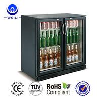 2017 High Quality 2 door Beer & Wine Glass Door bar refrigerated Cooler Fridge under counter beer cooler