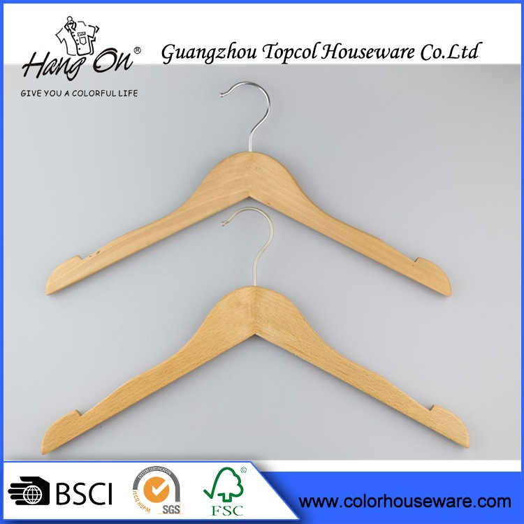 Hotel Beautiful Non Slip Wood Hanger Wall Clothes Hanger Rack