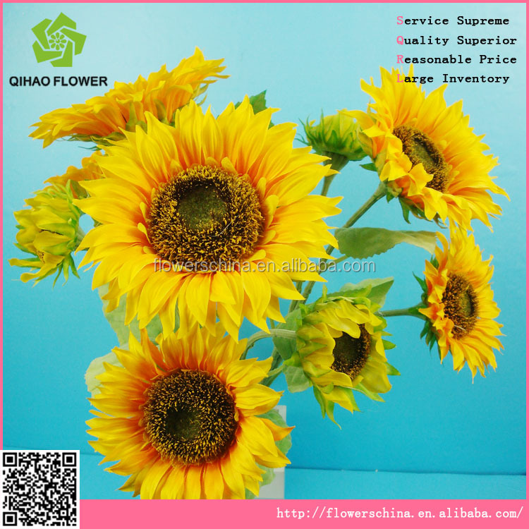 Stable shippment Artificial flower 9 heads sunflower for export