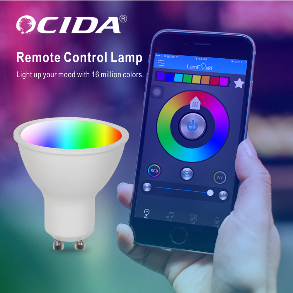 Indoor RGB CCT Smart Control LED Warna-warni Aluminium Plastik Gu10 Gu5.3 Base 5.5W Smart WIFI Bohlam LED