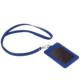 Blue PU Leather Vertical Badge Name Tag ID Card Holder with Heavy Duty Neck Lanyard for School Business Office