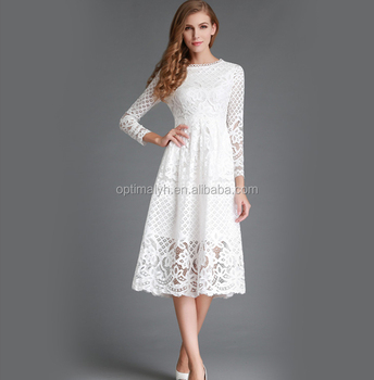 American style lady dresses New Autumn/Spring long sleeve casual lace dresses for women