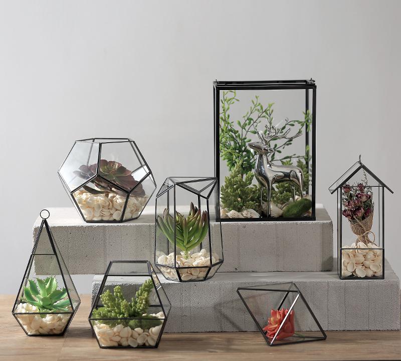 Home Decor Glass Terrarium Geometric Desktop Garden Planter Terrarium