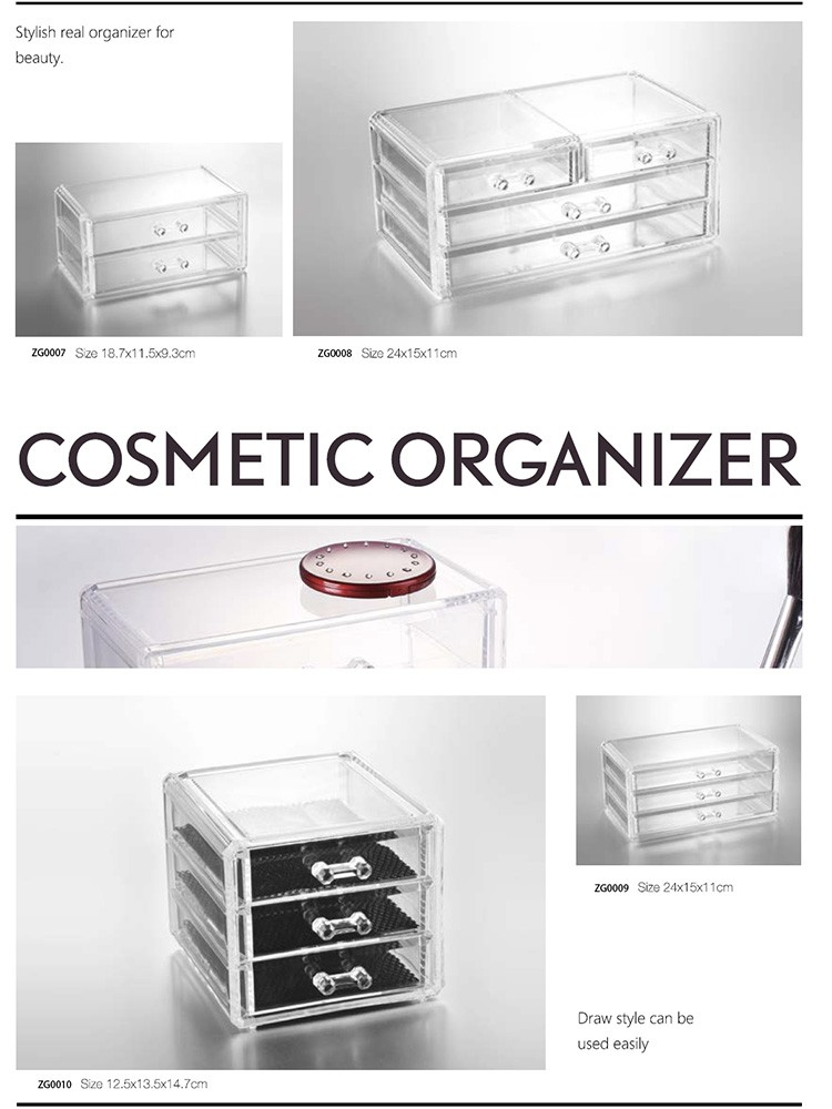 Hot Koop Clear Acryl/PS Make Organizer Met 9 slots en 1 doos