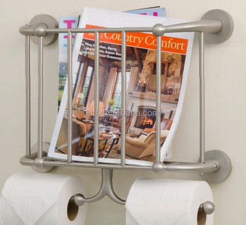 Wall Mounted Bathroom Metal Magazine Rack With Double Toilet Roll Holders Holder