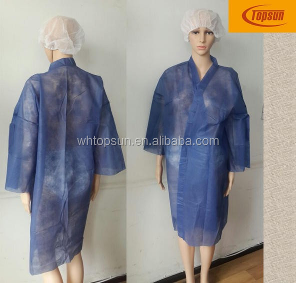 disposable pp nonwoven kimono gown, beauty beauty gown distributor