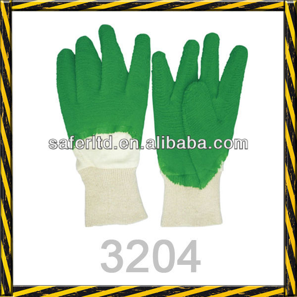 3204 Green Latex Coated Working Safety Gloves Interlock Liner ...