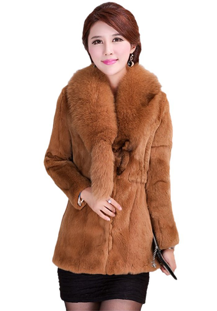 Queenshiny New Style Women's 100% Rex Rabbit Fur Coat with Whole Fox Collar
