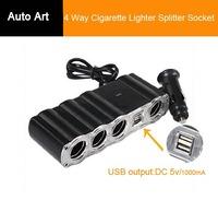 Multi Socket Auto Car Cigarette Lighter Splitter 2USB Plug 4 Way Adapter Charger