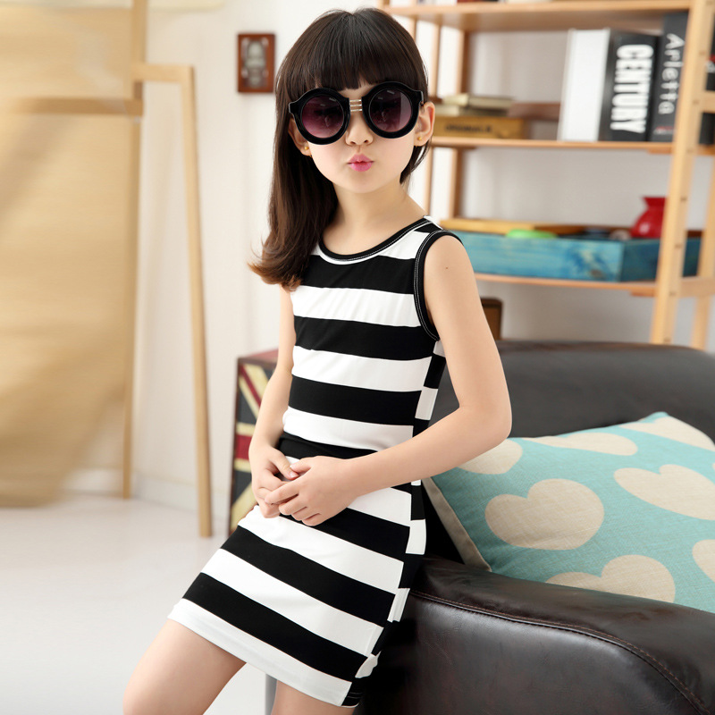 Age 3 14Y 2016 summer girls dresses black white strip cotton o neck sleeveless casual bow