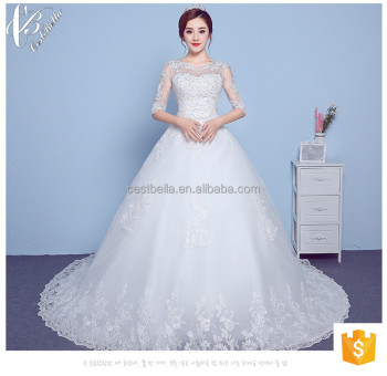 2117 New Design Long Train White Bridal Sleeve Ball Gown Wedding Dress