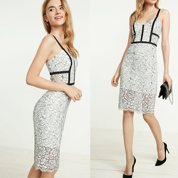 afd26e2d2f New fashion women sweetheart neckline bandage dress Contrast piped lace  sheath cocktail dress