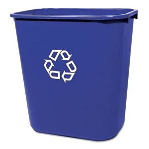 Rubbermaid Commercial Medium Deskside Recycling Container, Rectangular, Plastic, 28 1/8qt, Blue - one recycling container. by Rubbermaid Commercial