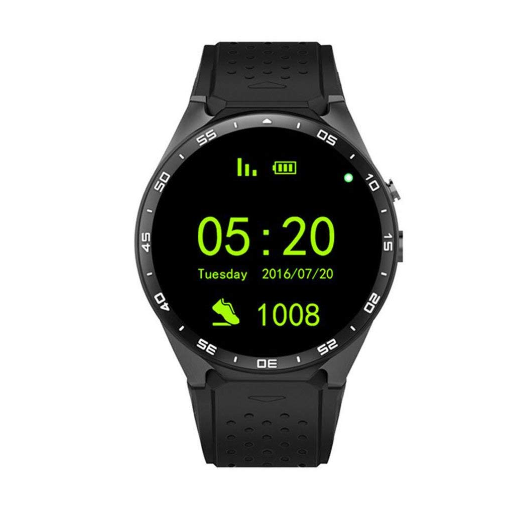 DQMSB Android System Full Circle Smart Watch WiFi Step Heart Rate GPS Positioning (Color : Black)