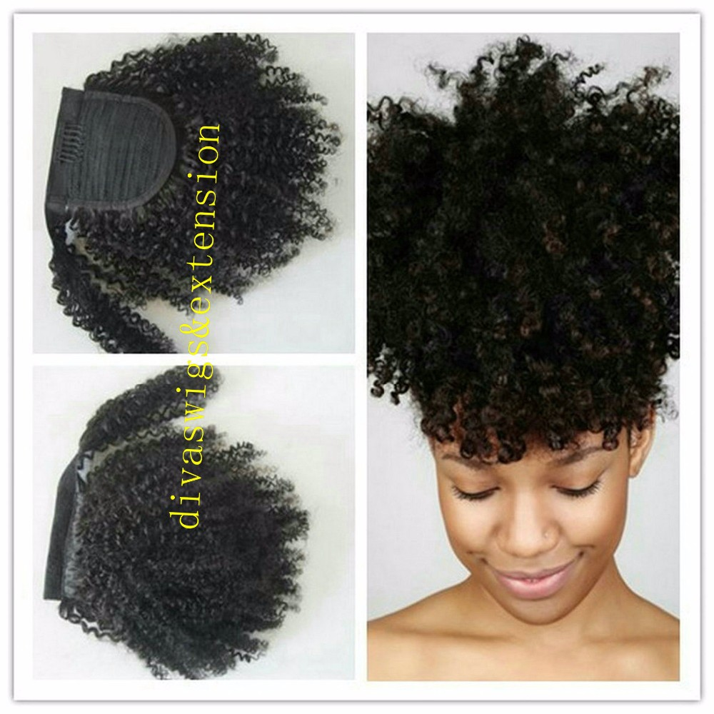 black women human natural hair puff brazilian drawstring ponytail