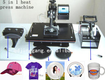 2bc778a3 5 In 1 T-shirt Heat Press Machine & Mug/cap Heat Transfer Printing ...