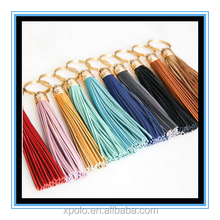 Fashion women multiple colors leather tassel keychain