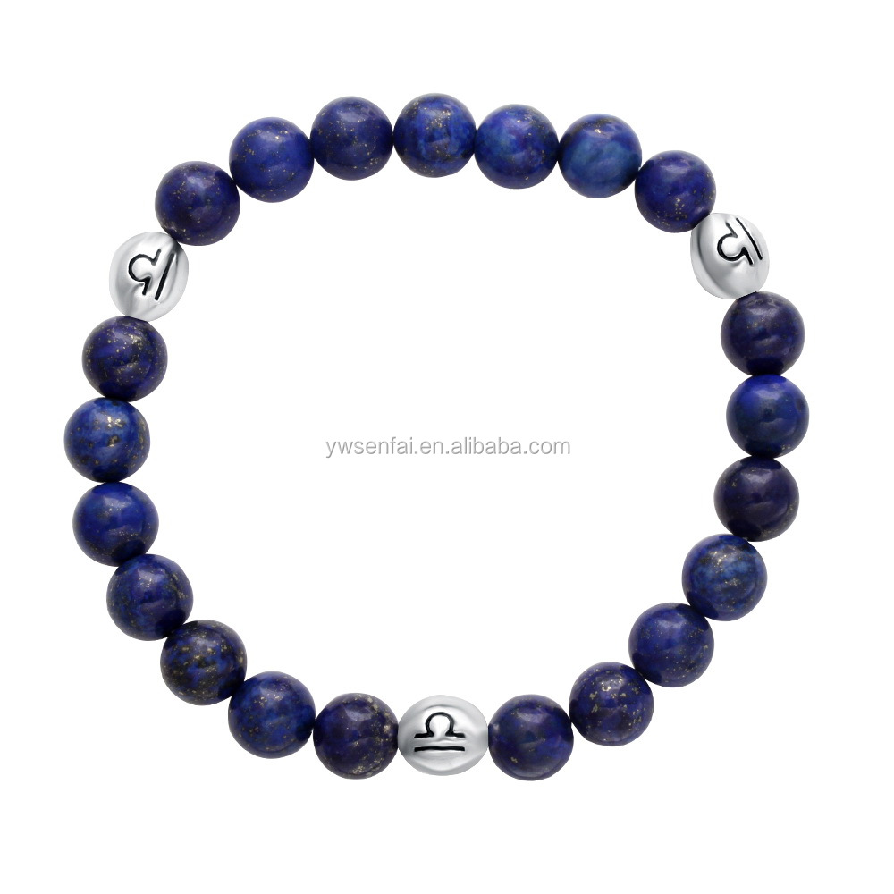 2016 Wholesale fashion jewelry custom silver zodiac charm blue lapis natural stone bead bracelet
