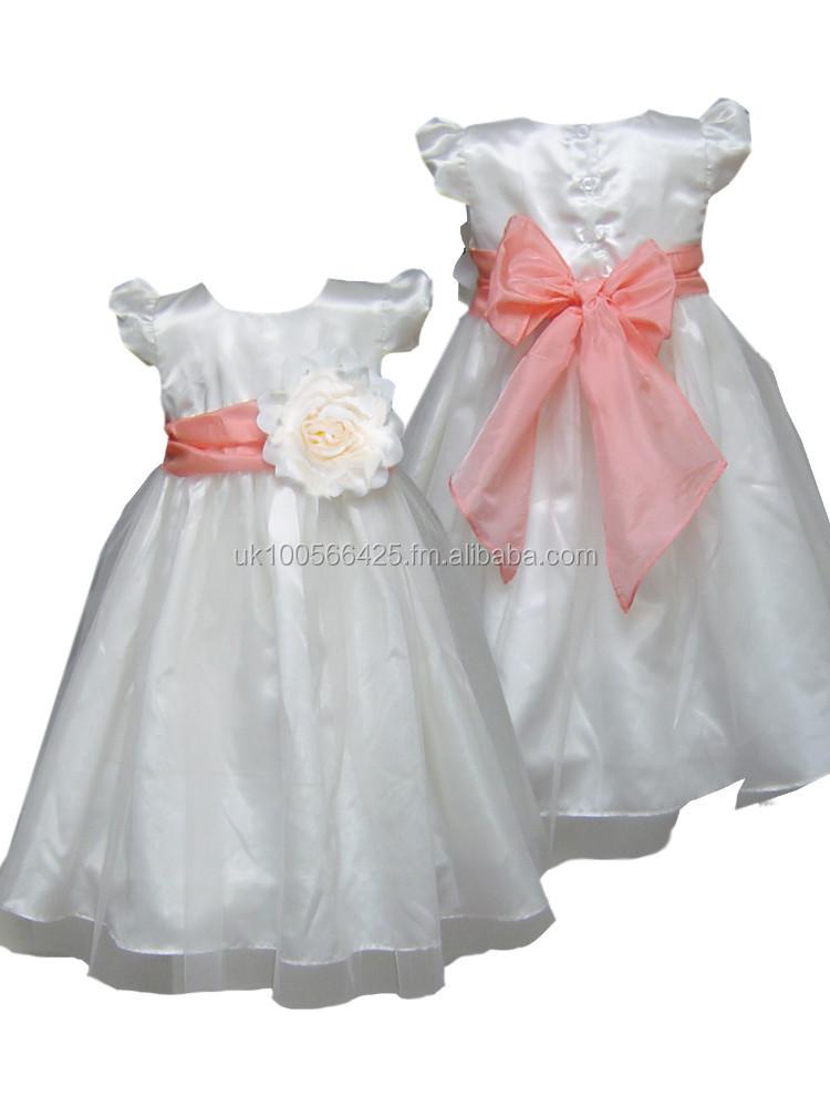 abadd0931d23 coral sash ivory flower girl dress girls party dress special occasion dress  girls wedding dress girls bridesmaid dress