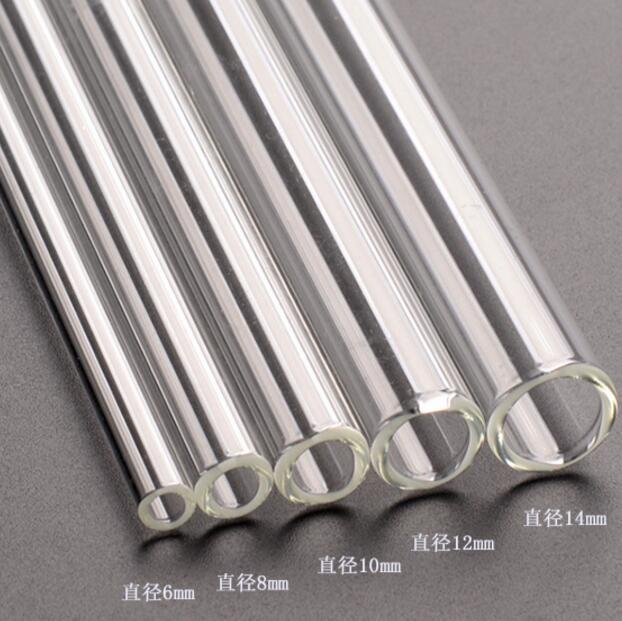 "Clear Glass Straws 8"" x 8 mm Drinking Straws Reusable Straws Healthy Reusable"