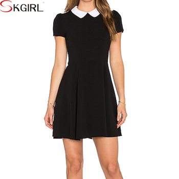 Casual Black Cap Sleeve Peter Pan Collar Slim Short Formal Dresses