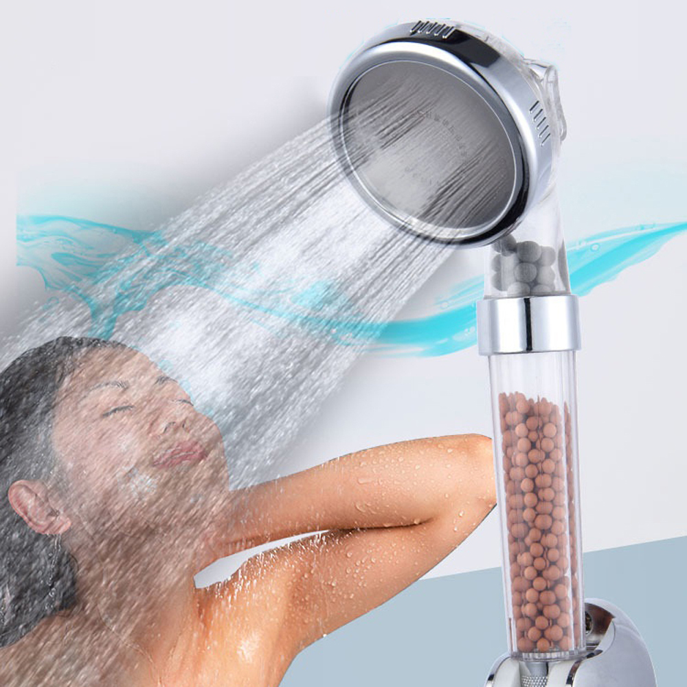 Hot Selling New Style ABS Negative Ionic Mineral Stone Water Saving Shower Head