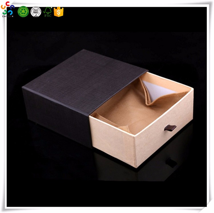 Black Paper Slide Open Sliding Drawer Ribbon Pull Packaging Box