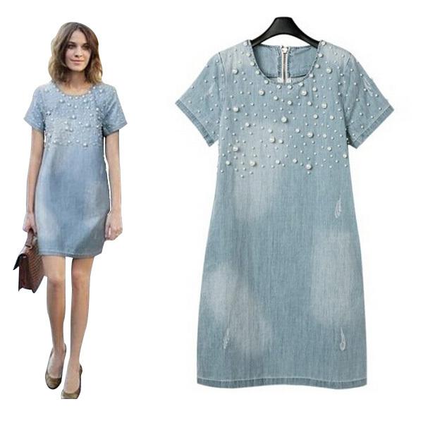 9cc215ca0d54 Get Quotations · 2015 Fashion Women Denim Jeans Dress Washed Beaded Design  Vestido Jeans Casual Loose Summer Dresses A