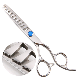 Blue diamond fancy screw japanese scissors big teeth thinning scissors with small teeth trimming scissors