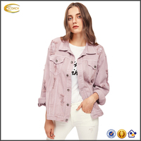 2018 Ecoach Custom Boyfriend Denim Jacket Coat Wholesale Autumn Pink Lapel Single Breasted Casual Fashion Womens Jean Jacket