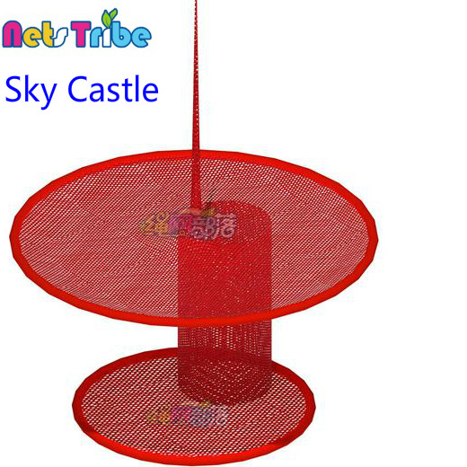 Professional crocheted polyester fibre Sky Castle indoor playground