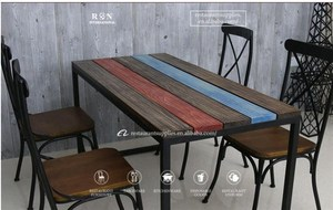 Reclaimed Rainbow Colored WoodenSet Outdoor Dining Table And Chair Restaurant Table Chair