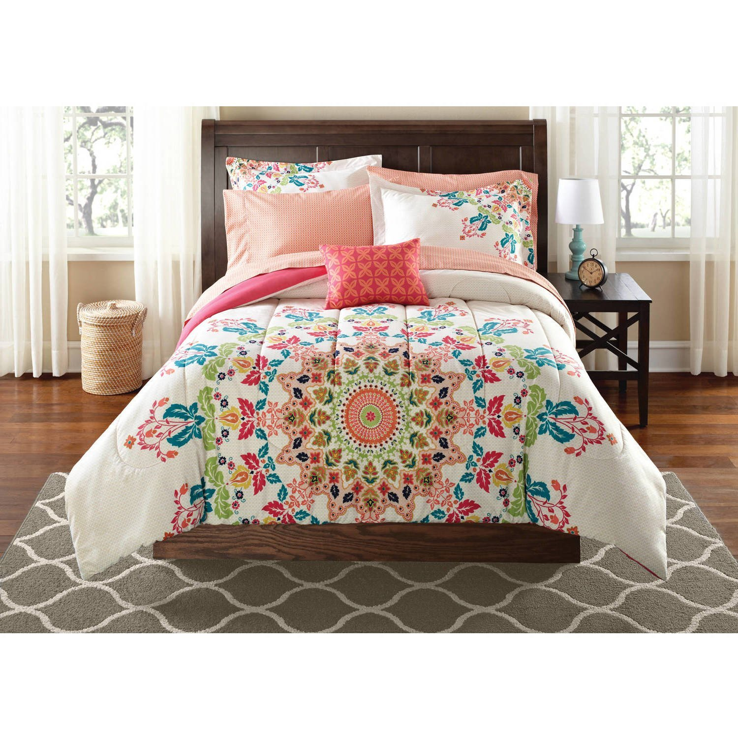 8 Piece Multi Color Medallion Pattern Comforter Set With Sheets Queen, Blue Green Rainbow Themed Light Pink Mandala Motif Floral, Reversible Coral Solid Kids Bedding, Polyester Microfiber