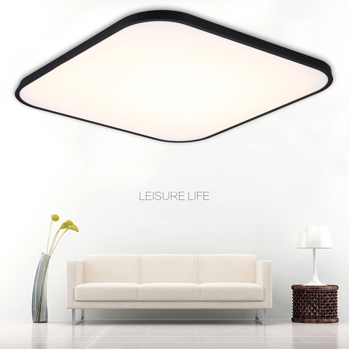 FLOUREON 24 ~ 29.5 Inch Ultra-thin Flush Mount LED Ceiling Light Modern Home Ceiling Light Fixture Flush Mount Chandeliers Lighting with 2.4G Wireless Remote Control Infinite Dimming (24W, Black)